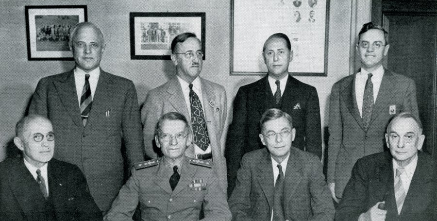 Group photograph of the National Defense Research Committee, circa 1940.
